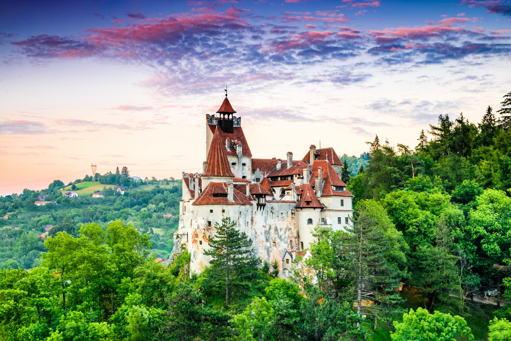 Bran Castle, Romania. Stunning HDR twilight image of Dracula fortress in Transylvania, medieval landmark.